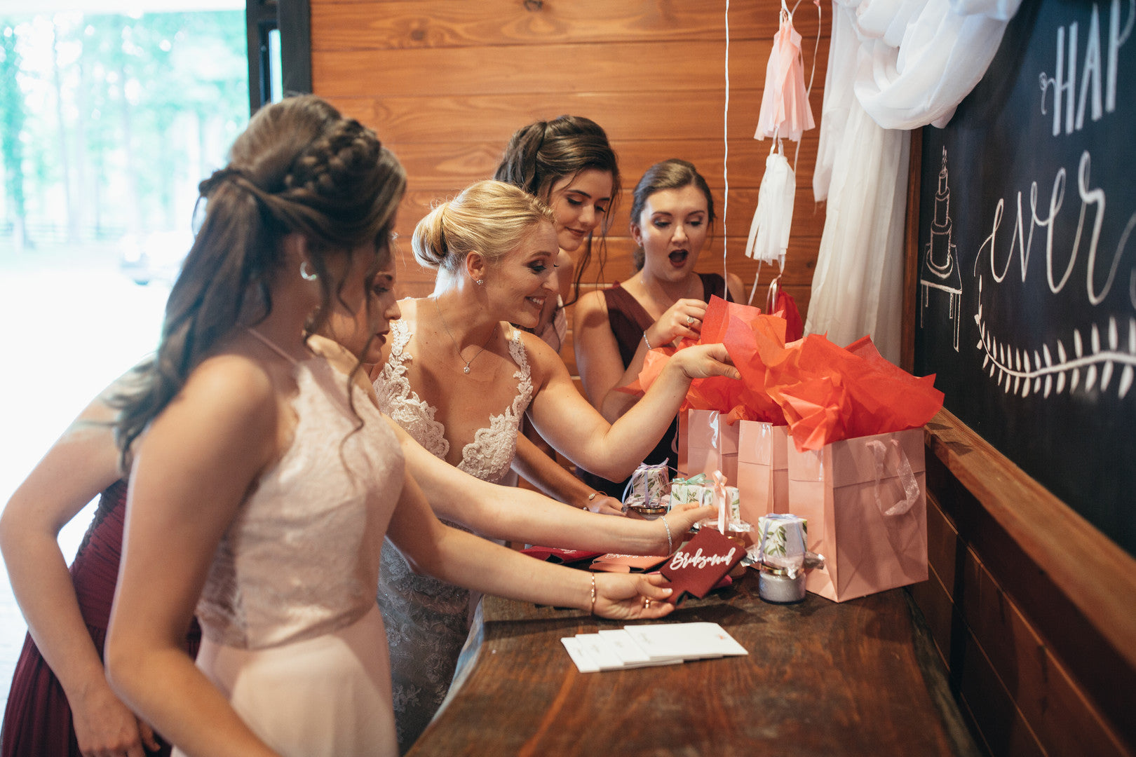 Brides and Bridesmaids Opening Gifts | Girls Just Want to Have Fun Bridal Shower | Kate Aspen