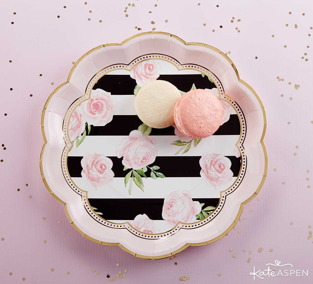 Floral Striped Paper Plates | A Posh Parisian Bridal Shower + Giveaway | Kate Aspen