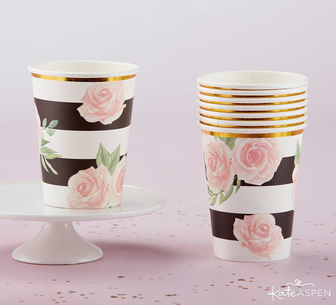 Floral Striped Paper Cups | A Posh Parisian Bridal Shower + Giveaway | Kate Aspen