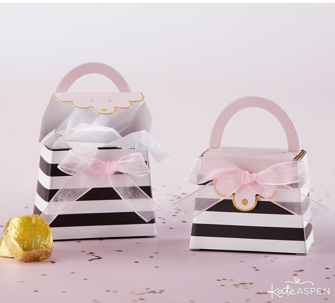 Striped Purse Favor Box | A Posh Parisian Bridal Shower + Giveaway | Kate Aspen