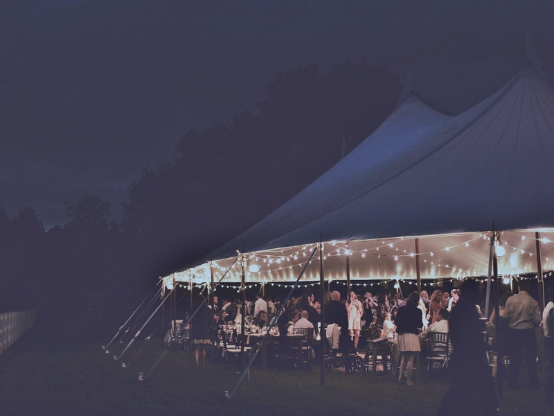 Reception Tent Lit Up at Night | Laura Dee Photography