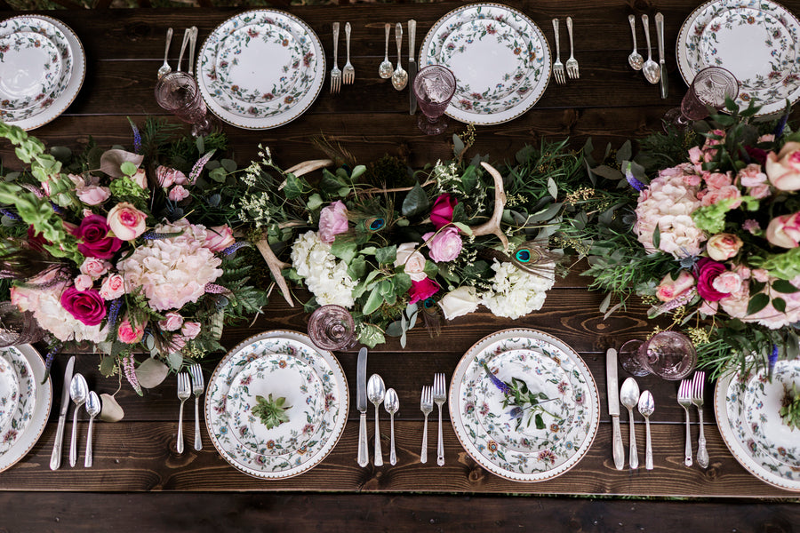 Overhead of Reception Table | Details For The Perfect Floral Wedding | Kate Aspen