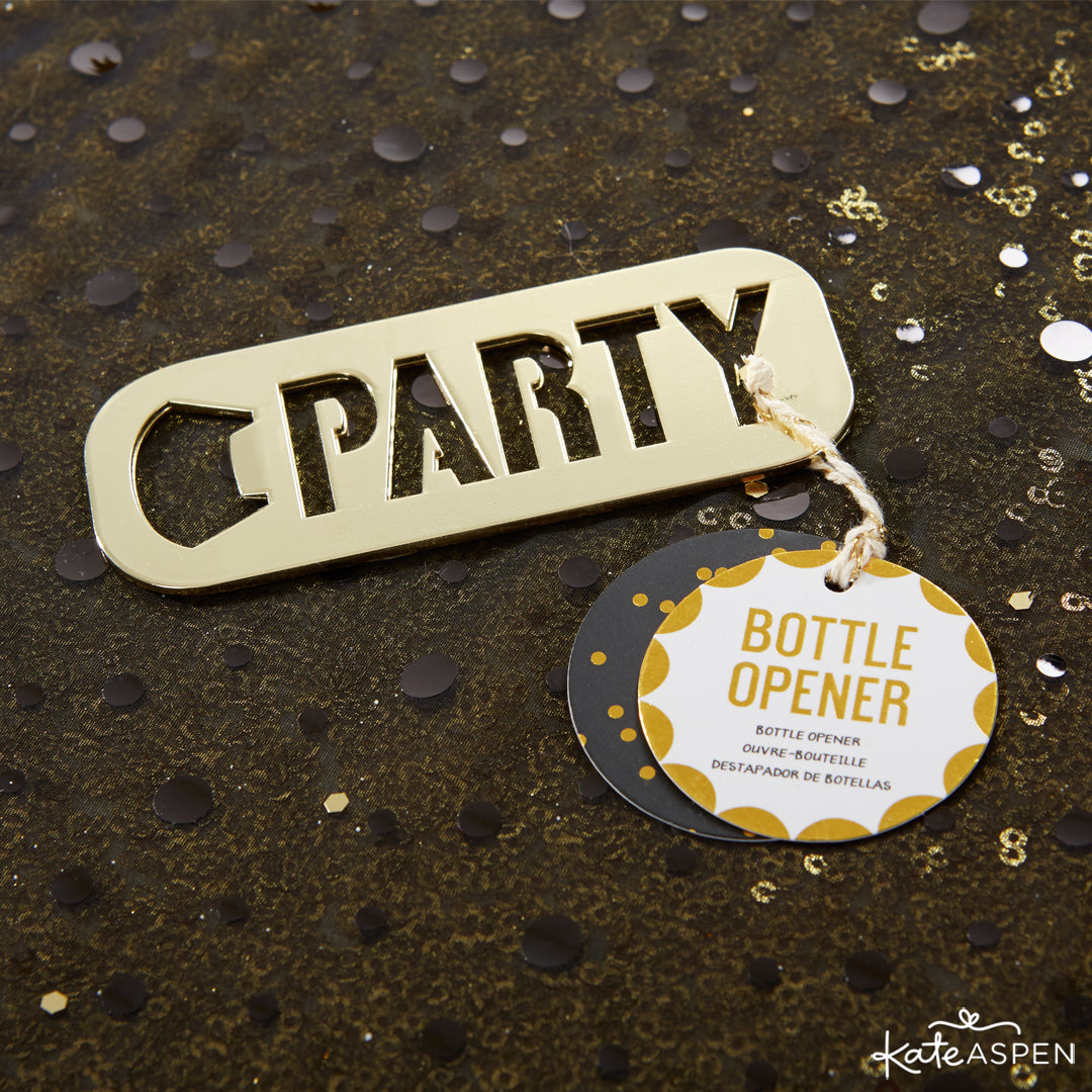 Gold Party Bottle Opener | 10 Glittering Party Favors and Decorations For All Occasions | Kate Aspen