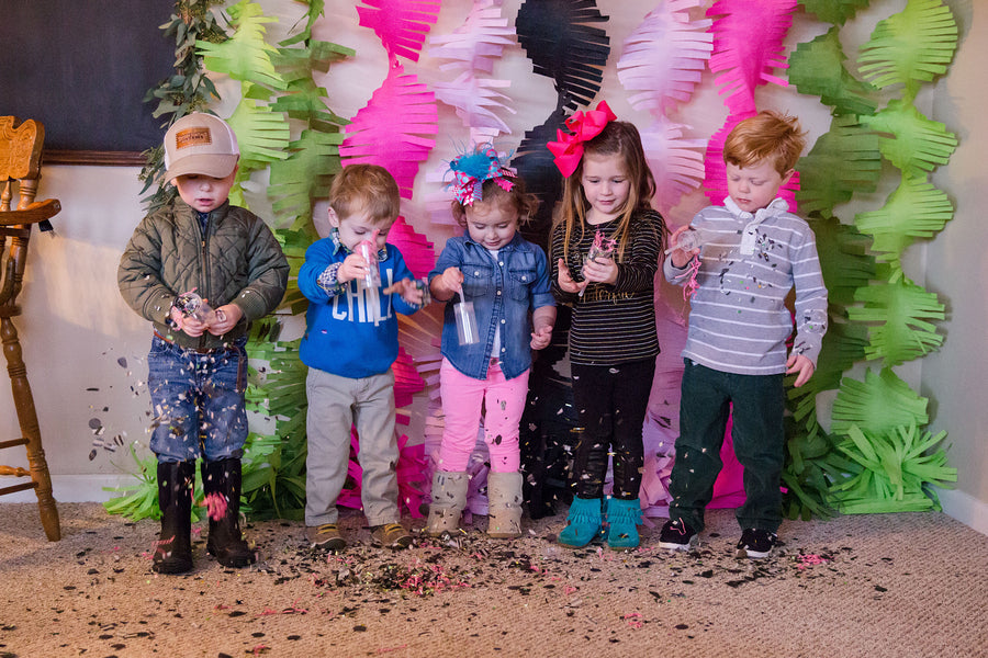 Little Party Guests Play With Confetti | First Birthday Party | Katie Woody Photography
