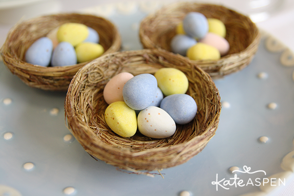 Pastel Easter Dessert Table Egg Candy in Nests - Kate Aspen