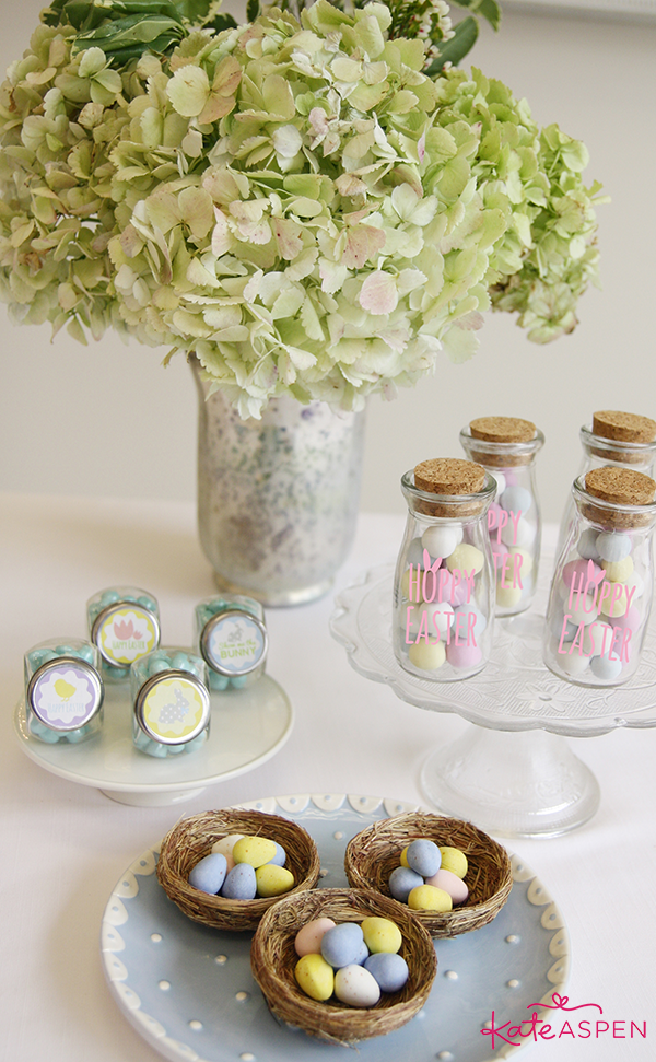 Pastel Easter Dessert Table with Eggs in Bird Nests - Kate Aspen