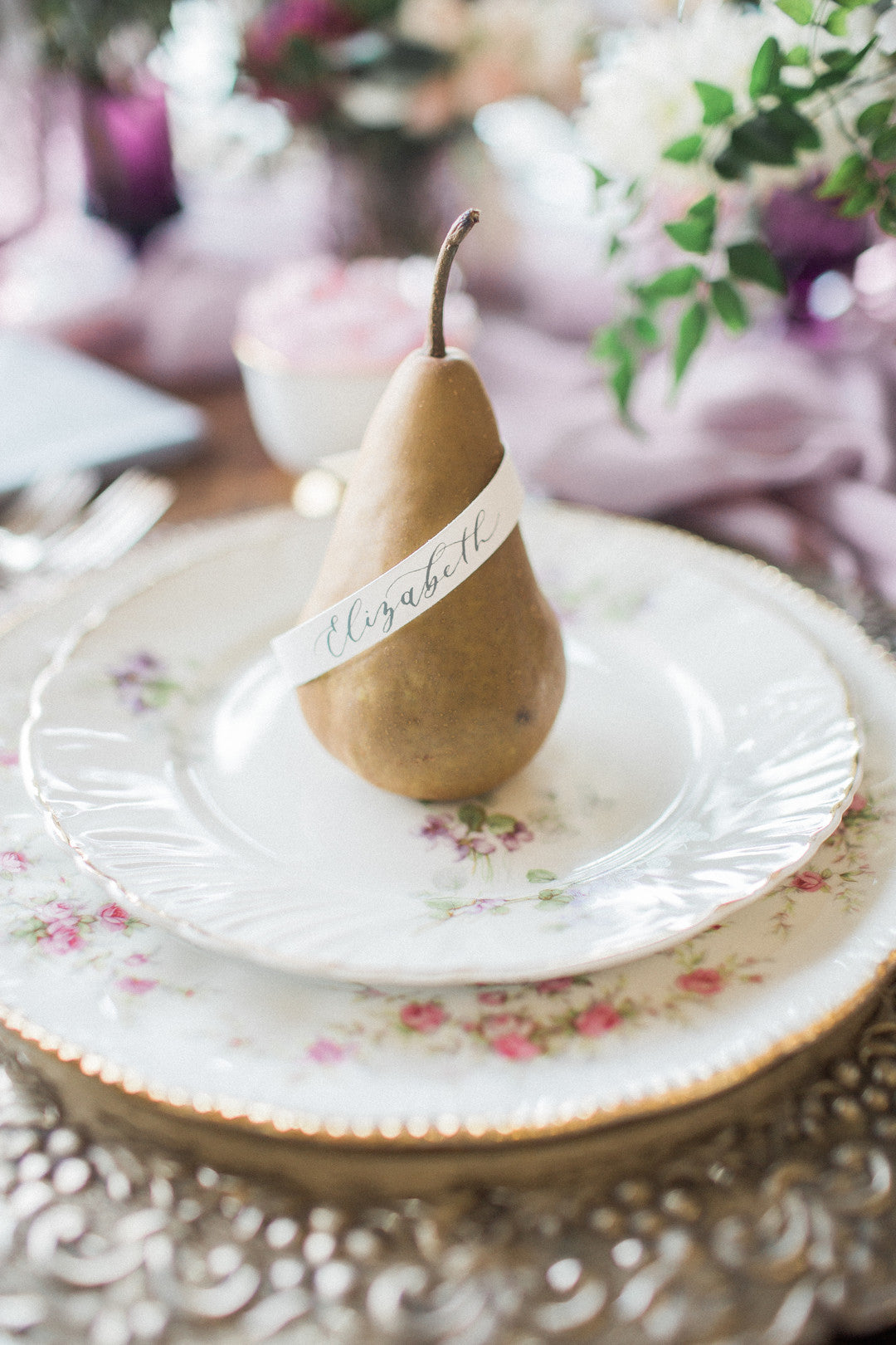 Pear Name Cards | Tips For the Perfect Floral Bridal Shower | Kate Aspen