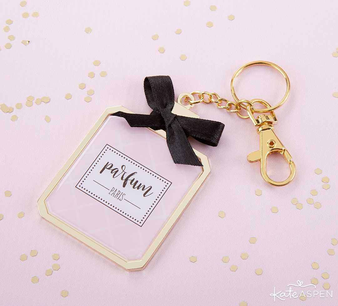 French Perfume Keychain With Mirror | A Posh Parisian Bridal Shower + Giveaway | Kate Aspen