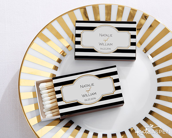 Classic Black and White Striped Matchboxes | Wedding Favors | @KateAspen | KateAspen.com