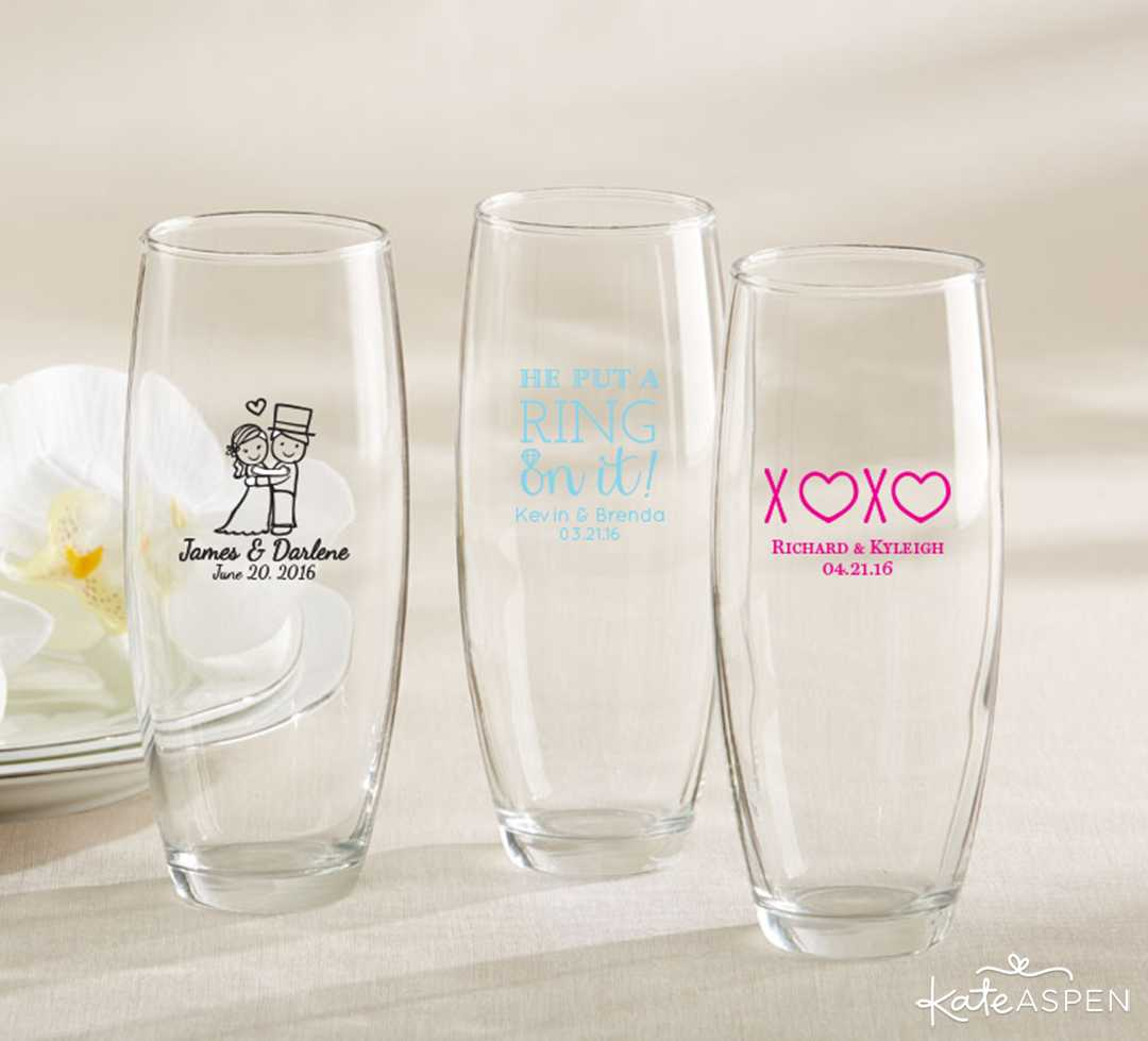Personalized Stemless Champagne Flute | Must-Have Decor to Match Your Living Coral Wedding | Kate Aspen