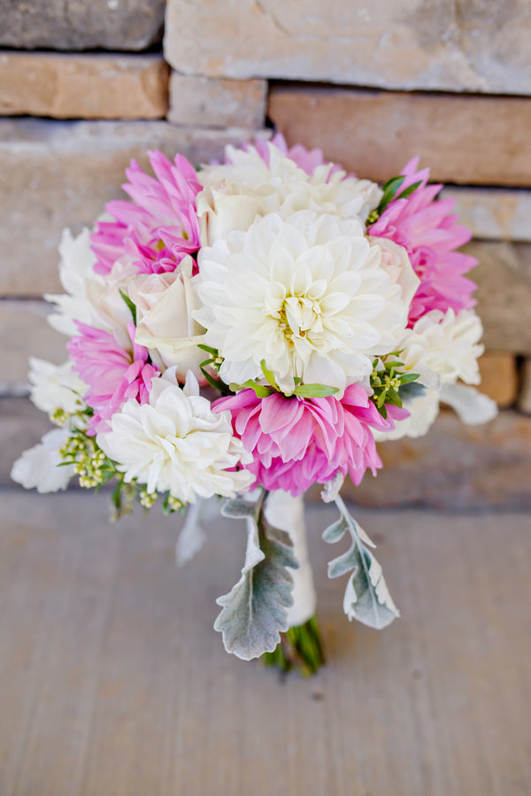 Pink and white Bridal Bouquet | www.justadreamllc.com