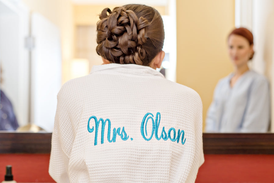 Custom Bride Bathrobe for getting ready | www.justadreamllc.com