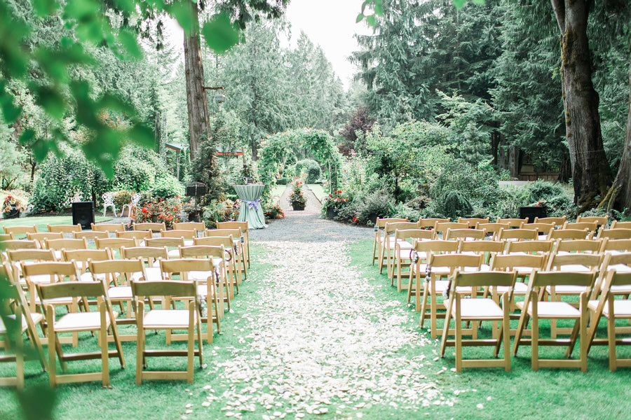 Petal Lined Aisle | Blissful Garden Wedding Details | B. Jones Photography