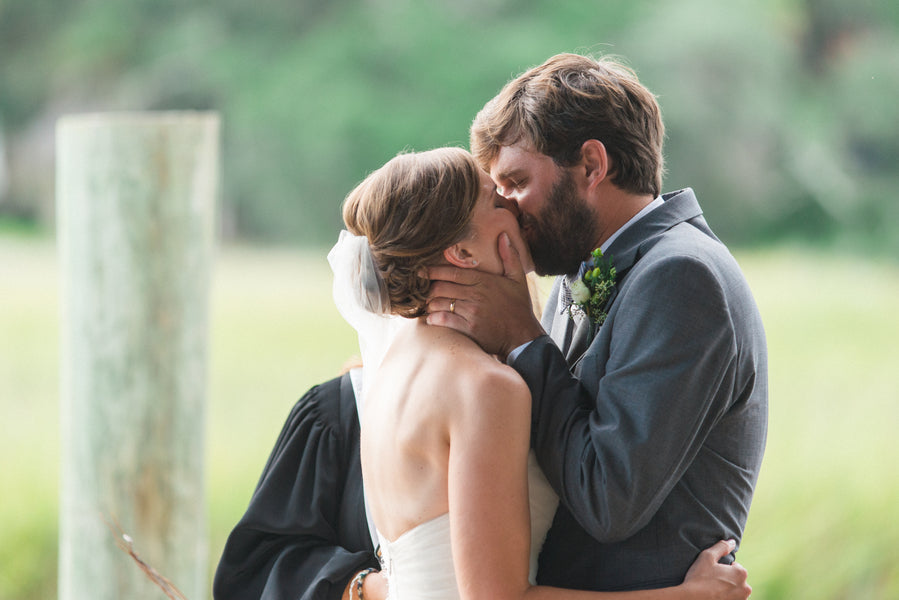 First Kiss | Southern Fall Plantation Wedding | Priscilla Thomas Photography