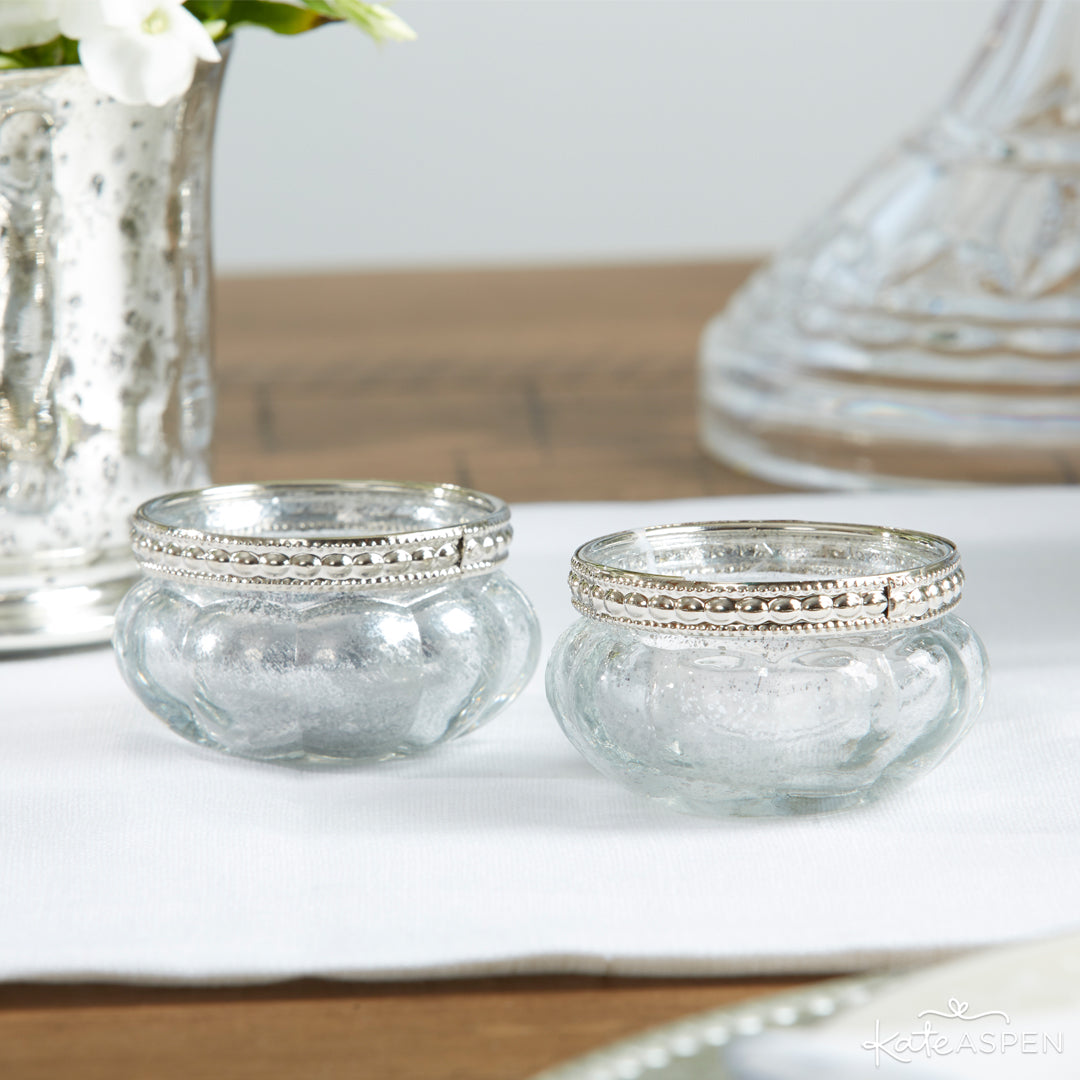 Petite Glass Tealight Holder With Silver Fleck | 12 Must Have Accents for a Whimsical Wedding | Kate Aspen