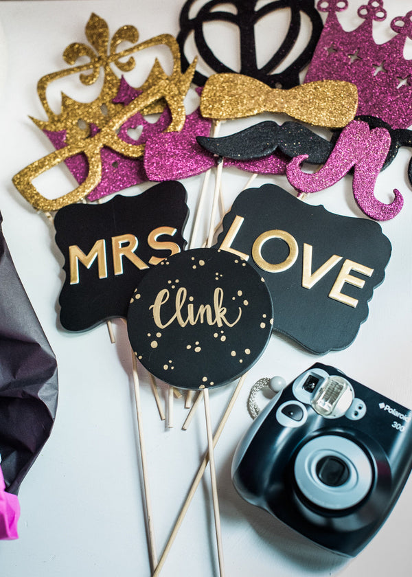 Photo Booth Props and Camera | Kate Spade Bridal Shower | B. Jones Photography