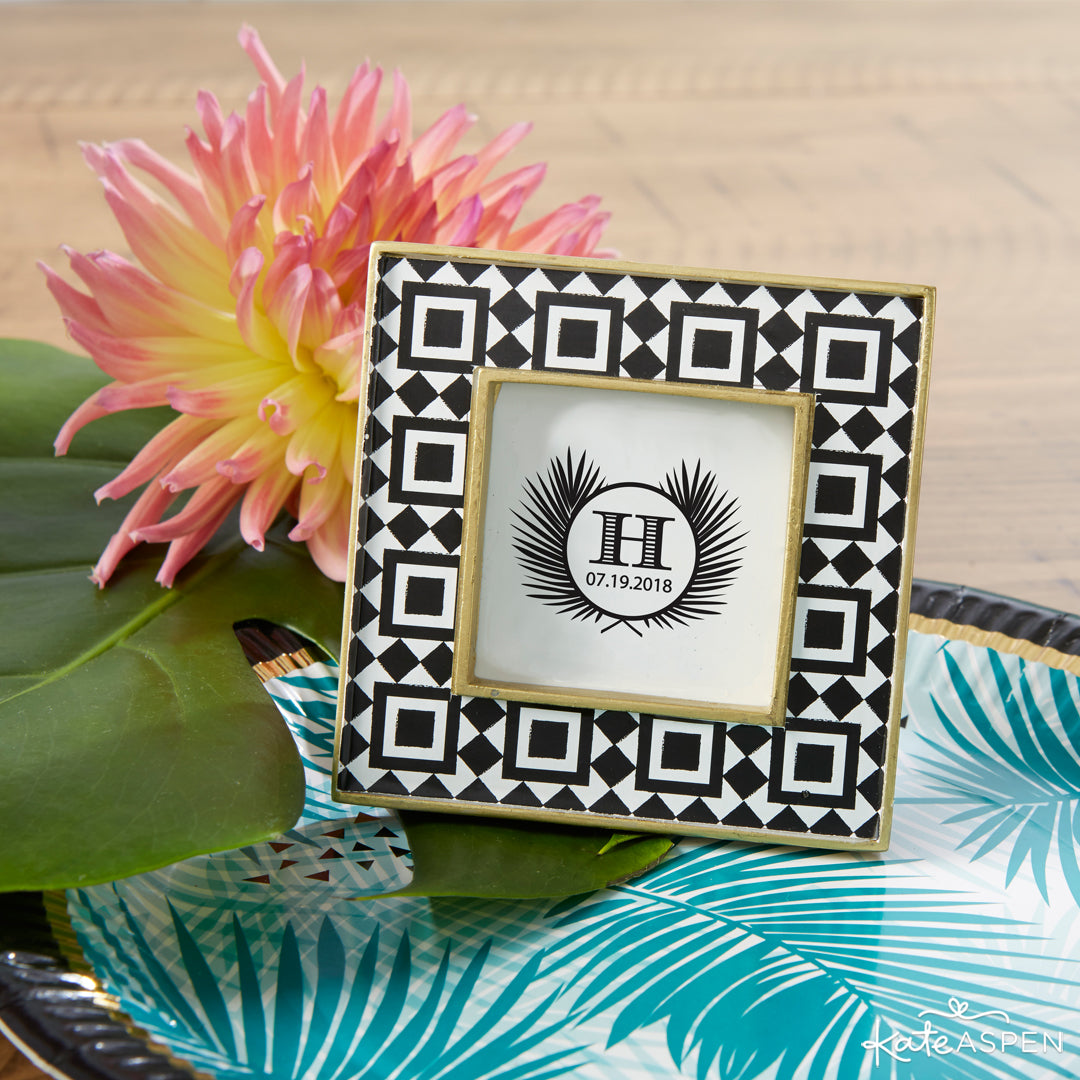Tropical Chic Tile Patterned Frame | 7 Chic Favors for a Tropical Wedding | Kate Aspen