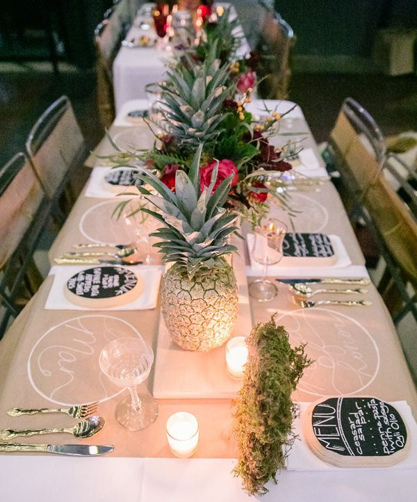 Pineapple Wedding Reception Table | Bamber Photography via Ruffled Blog