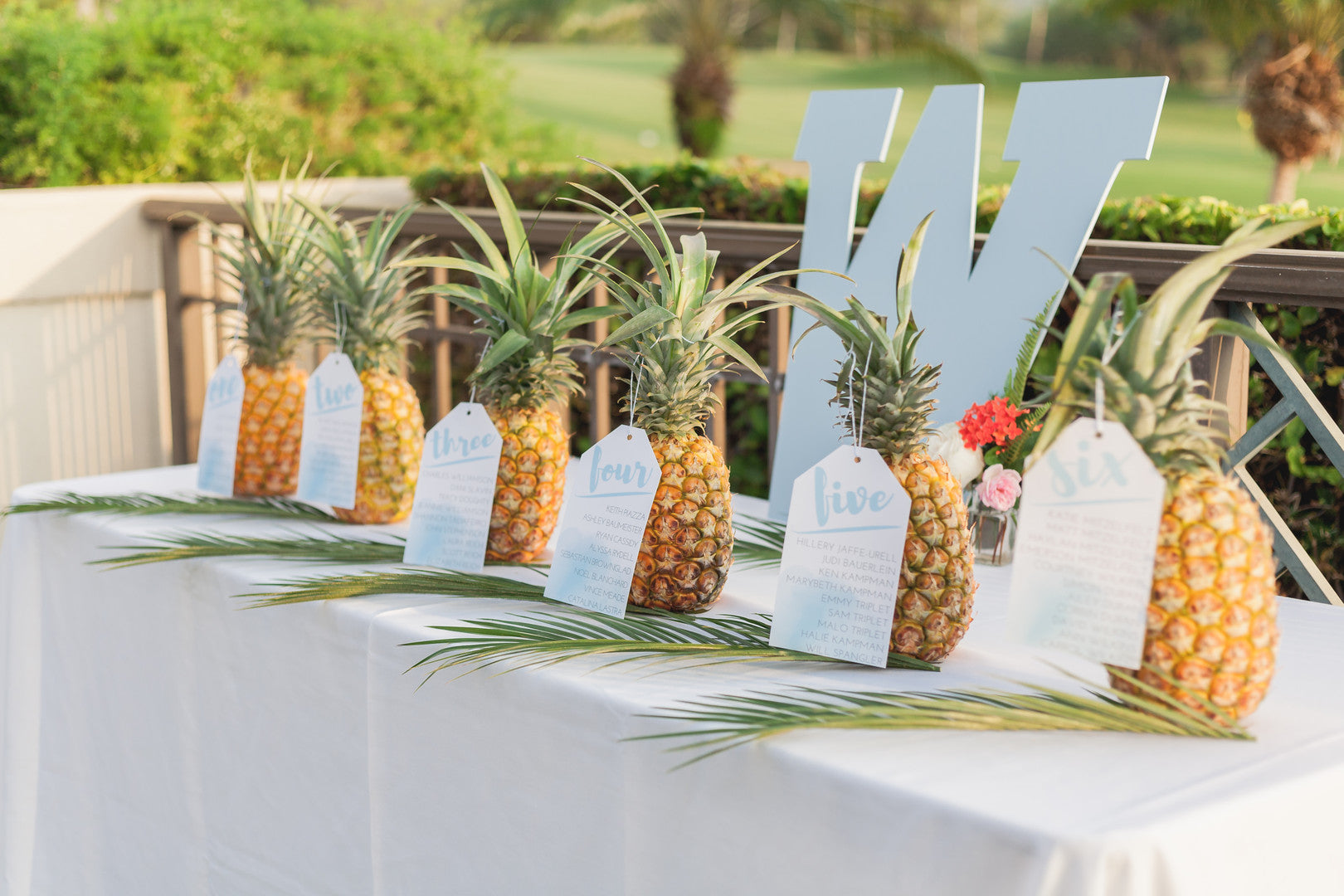 Pineapple Table Numbers | A Hawaiian Destination Wedding | Kate Aspen