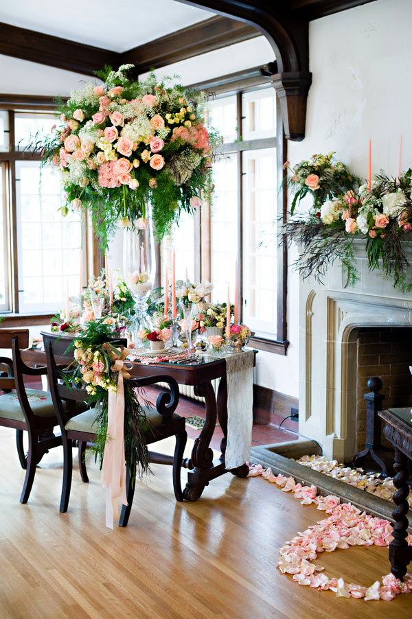 Pink Peach and Creme Table | Vintage Details for a Downton Abbey Inspired Wedding | HRM Photography