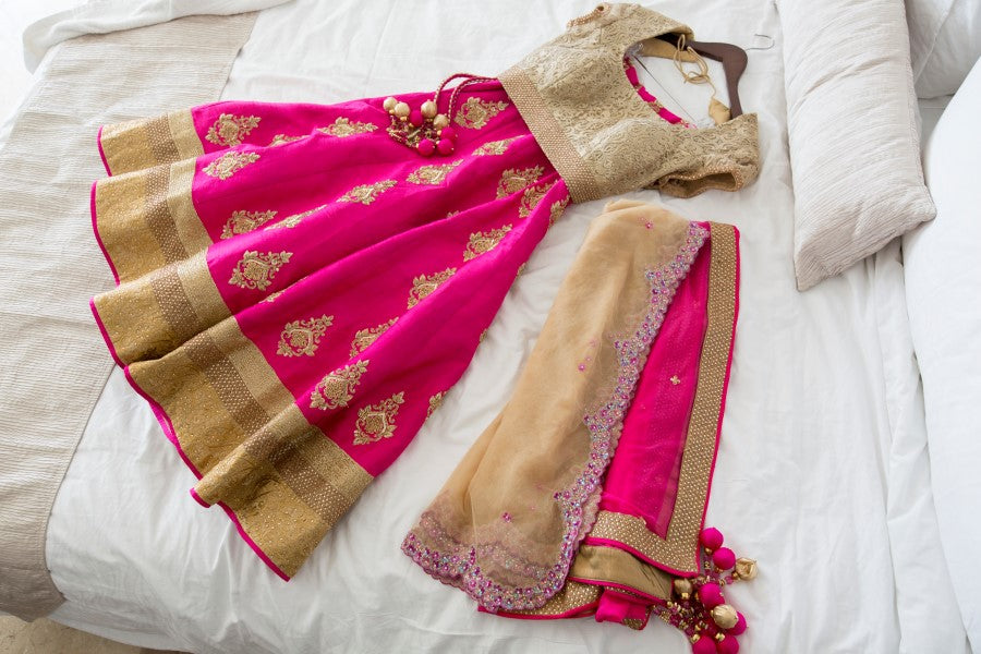 Pink and Gold Bridal Lehenga by Poshaac Couture & Accessories |  Indian Fusion Wedding | Adrienne Fletcher Photography