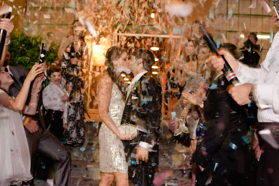 Bride and Groom Kiss Confetti Exit | Suburbanite Photography