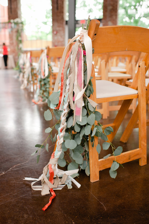Flowers and Ribbons on Chairs | Suburbanite Photography