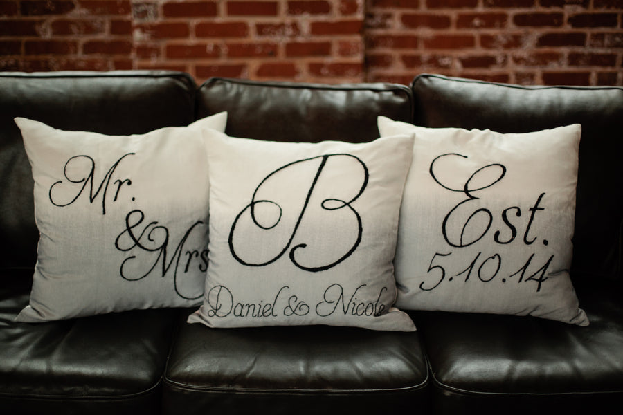 Mr. and Mrs. Handmade Pillows | Suburbanite Photography
