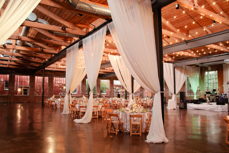 Draped Curtains in Reception Venue The Foundry at Puritan Mill | Suburbanite Photography