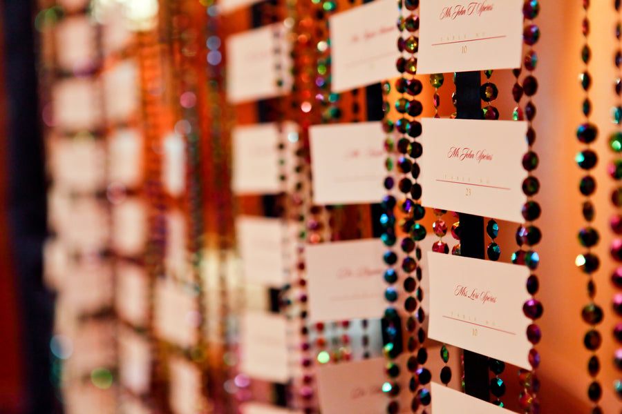 Place Cards Hanging on Beaded Curtain | Pepper Nix Photography