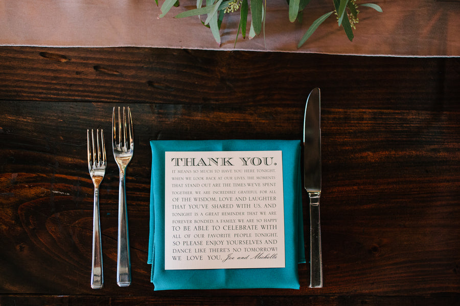 Place Setting Thank You Note | Plantation Wedding in Charleston | Riverland Studios