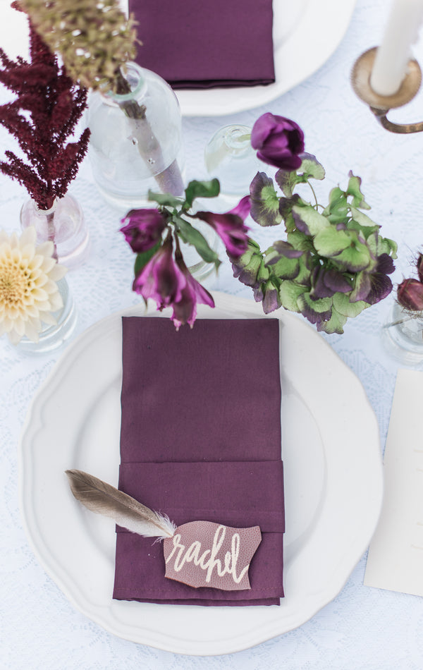 Purple Place Setting | Boho Wedding Inspiration | B. Jones Photography