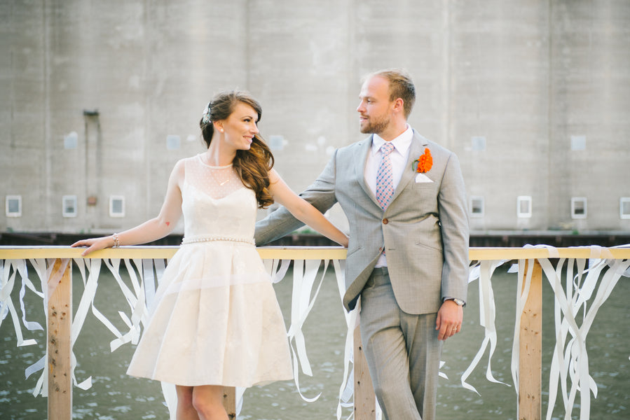 Short Wedding Dress | Modern and Whimsical Wedding | Mint, Orange, and Lemon Color Palette| Buffalo Wedding | Christina Laing Photography | Kate Aspen Blog