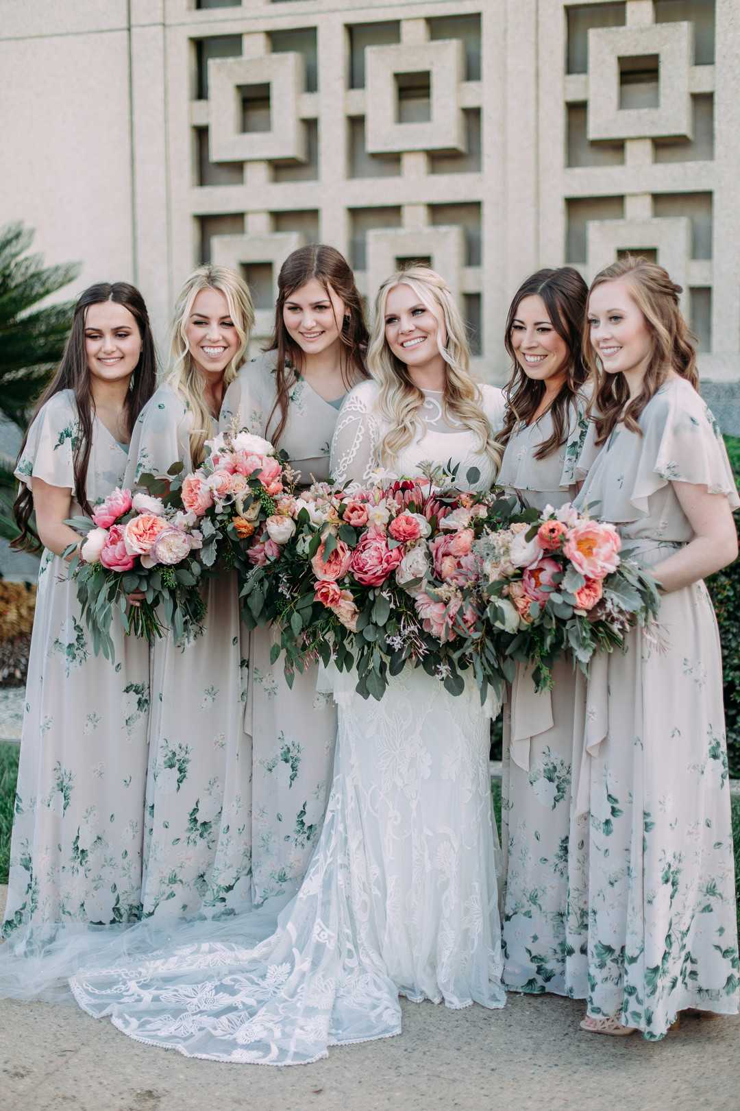 Bride and Bridesmaids | A Summer Bohemian Wedding | Kate Aspen