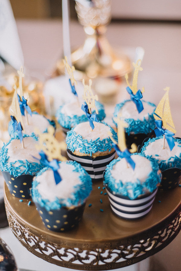 Cupcakes | Anchors Away Baby Shower | Kate Aspen