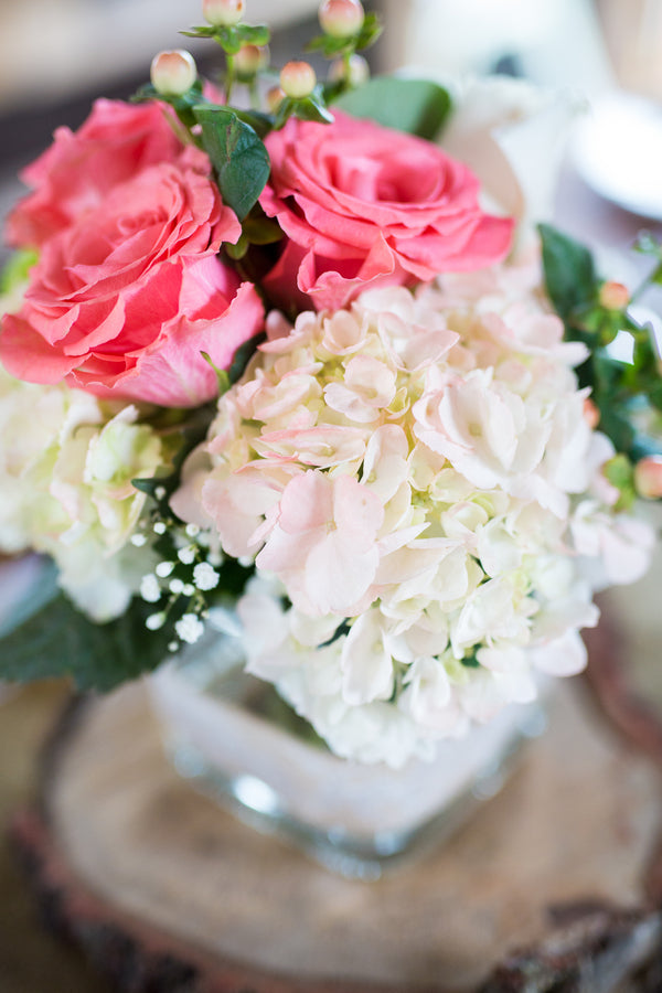 Pink and White Reception Floral Centerpiece | Whimsical Rustic Barn Wedding | McKenzie Stewart Weddings
