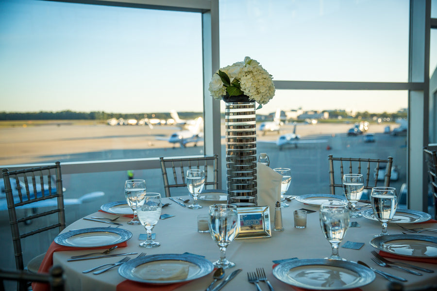 Reception Table | Aviation Themed Wedding | Red Bridge Photography