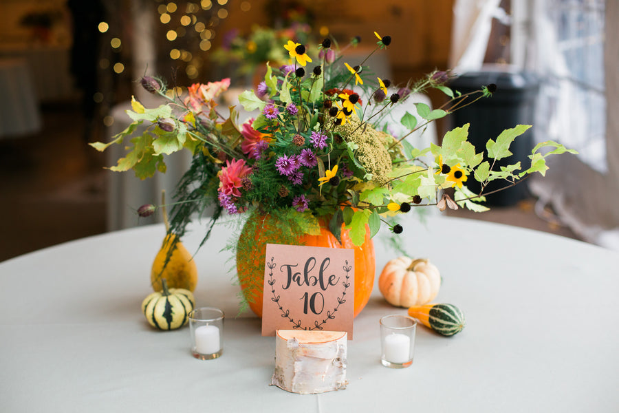Reception Table Centerpiece | A Flowery Fall Wedding | Kate Aspen