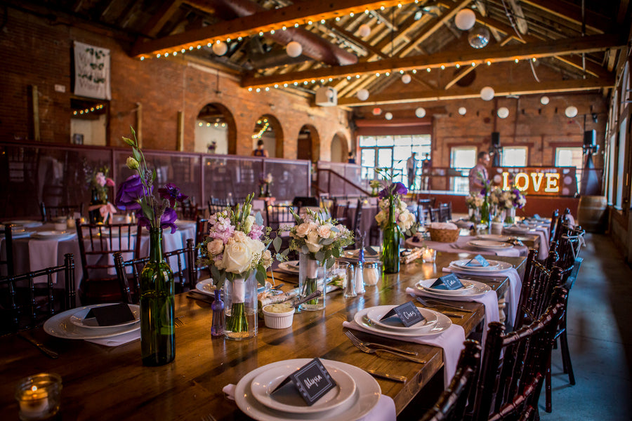 Reception Table | Purple Industrial Themed Wedding | Asteria Photography