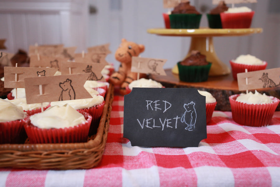 Red Velvet Cupcakes| Winnie the Pooh First Birthday Party | Whit Meza Photography