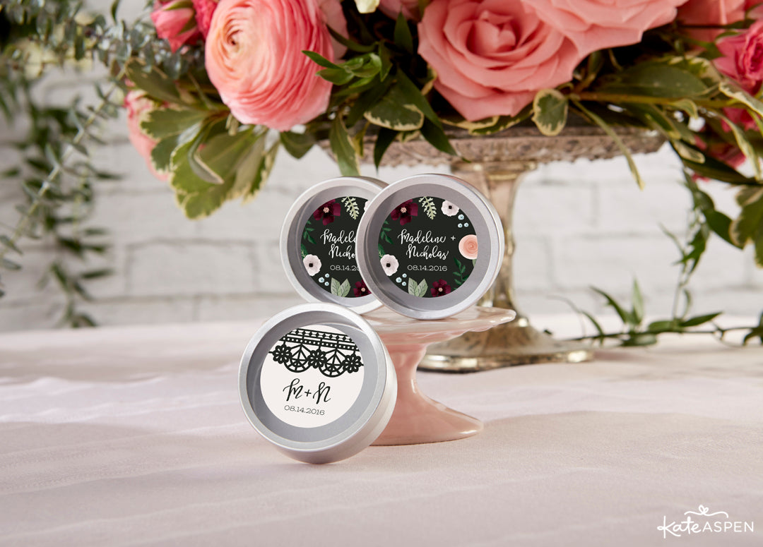 Personalized Candy Tins | Romatic Garden Wedding | Kate Aspen