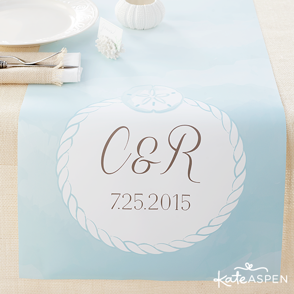 Personalized Table Runner Beach Tides Aqua Watercolor - Kate Aspen
