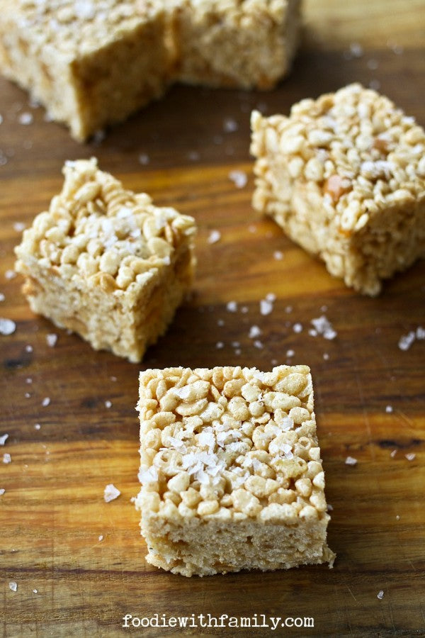 Salted Caramel Bourbon Rice Crispy Treats - foodiewithfamily.com