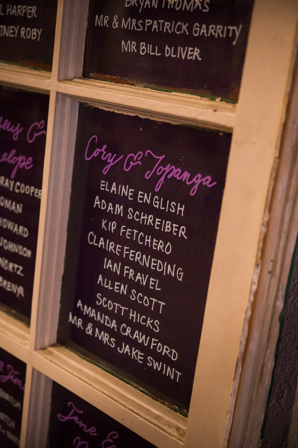 Seating Display | Purple Industrial Themed Wedding | Asteria Photography