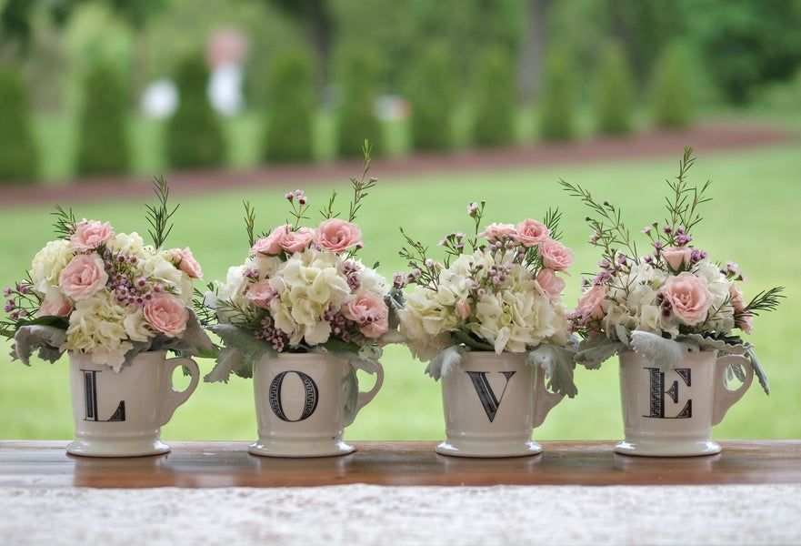 Floral Arrangements in Teacups| Laura Dee Photography