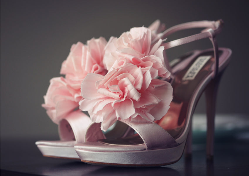 Shabby Chic Bride's Pink Badgley Mischka Shoes | Laura Dee Photography