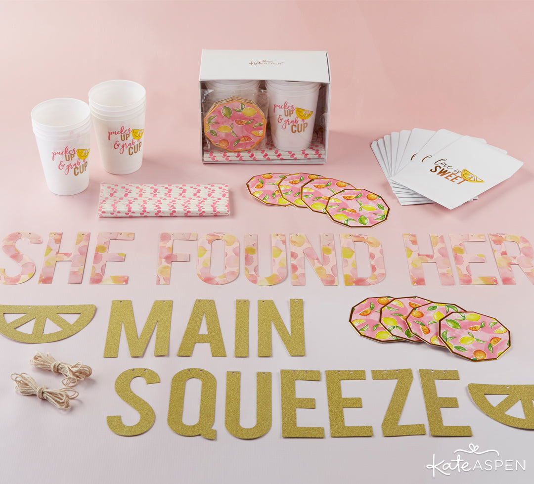 She Found Her Main Squeeze 49 Piece Party Kit Flat Lay | A Cheery & Chic Giveaway | Kate Aspen