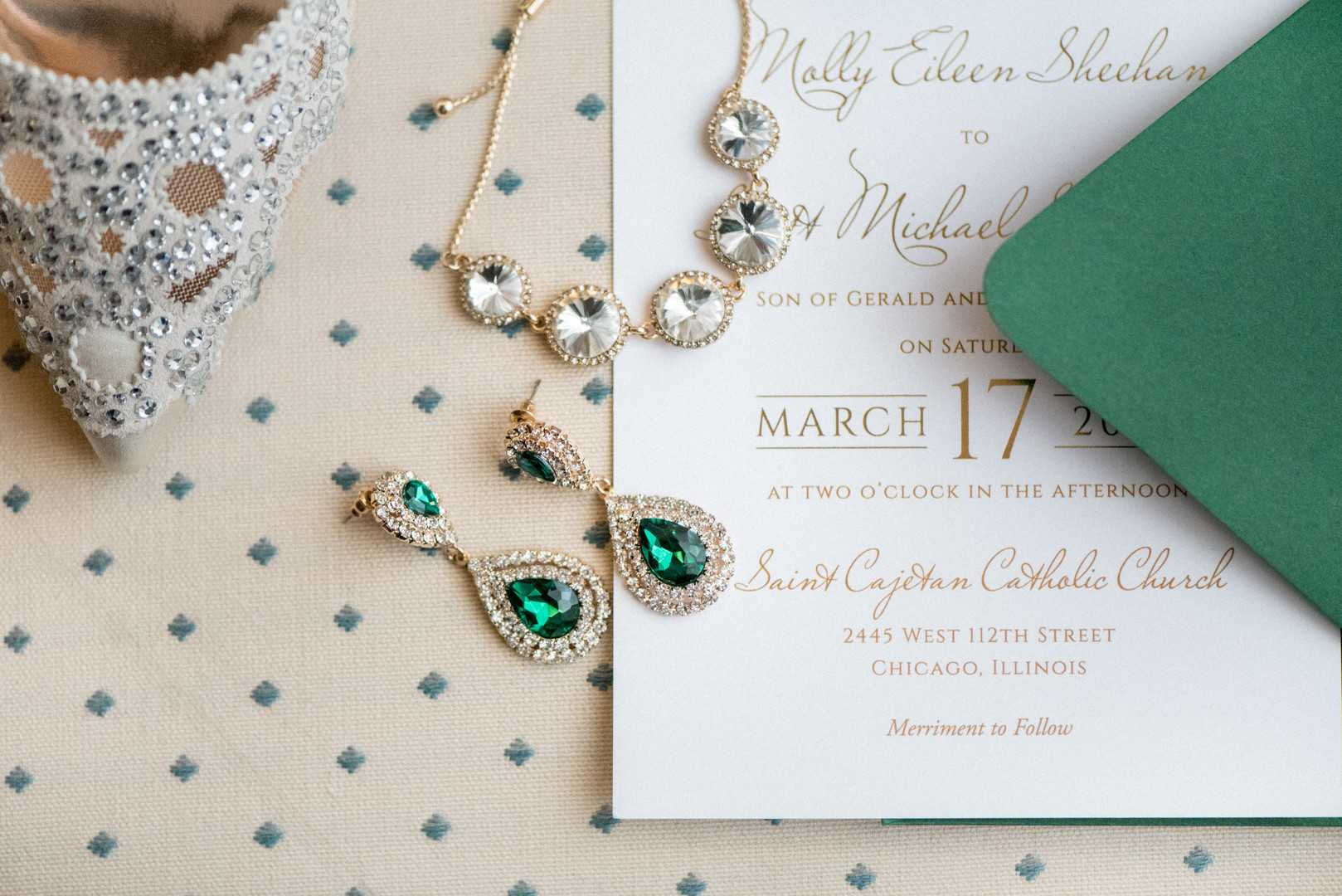 Jewelry and Wedding Invitation | A Stunning St. Patrick's Day Wedding | Kate Aspen