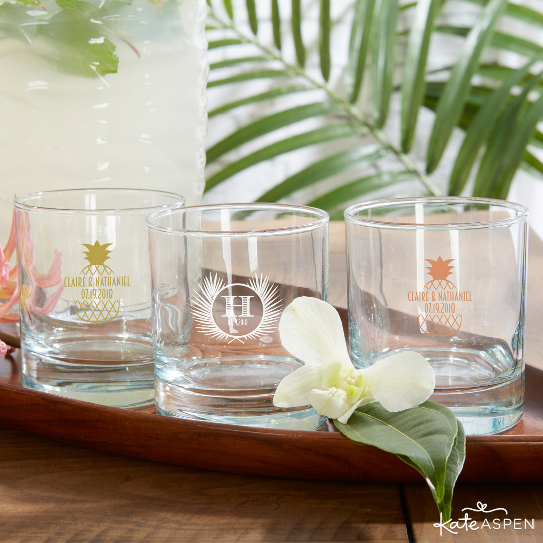 Personalized 9 oz. Rocks Glass - Tropical Chic | 7 Chic Favors for a Tropical Wedding | Kate Aspen