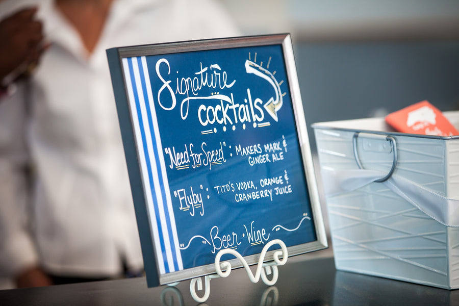 Signature Cocktails | Aviation Themed Wedding | Red Bridge Photography